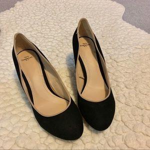 Zara Trafaluc Black Suede Pyramid Heels